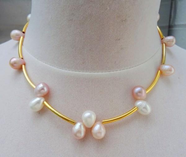 Süßwasserperlen Collier Perlenkette Kette Halskette Unikat 3482