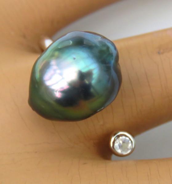 Tahiti Perlen Unikat Ring Silber rhodiniert Tahitiperle 11,7x14,5 mm 4294