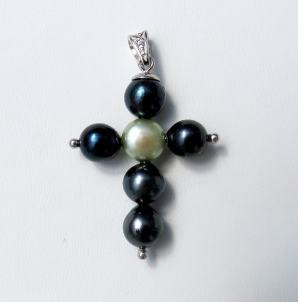 Akoya Perlen Anhänger Unikat Perlen Anhänger Perlen Kreuz Anhänger 4362