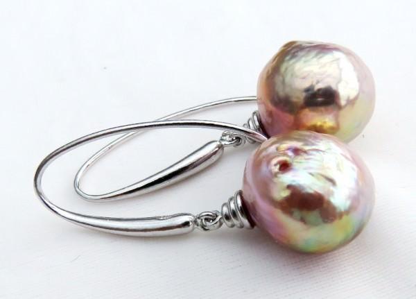 Süßwasserperlen Ohrringe Edison Perlen naturfarben barock Unikate 3798