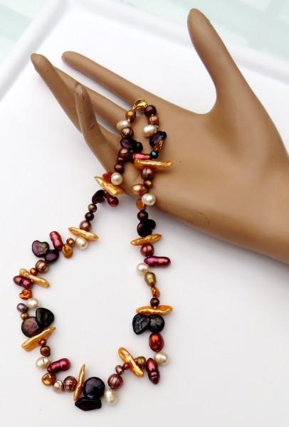 Süßwasser Perlen Kette Unikat Kette Biwa Coin Tropfen Perlen handgefertigt 4673
