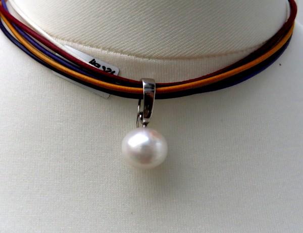 Perlen Anhänger Ming Perle Süßwasser Perle 13 mm Silber Anhänger 4484