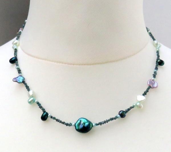 Rohdiamant Kette blau mit Süßwasserperlen Unikat Perlen Diamant Kette 4234