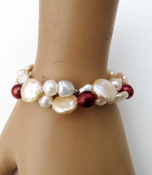 Perlen Armband Süßwasser Perlen Coins Keshi Potatoe Unikat Armband 2-reihig 4724