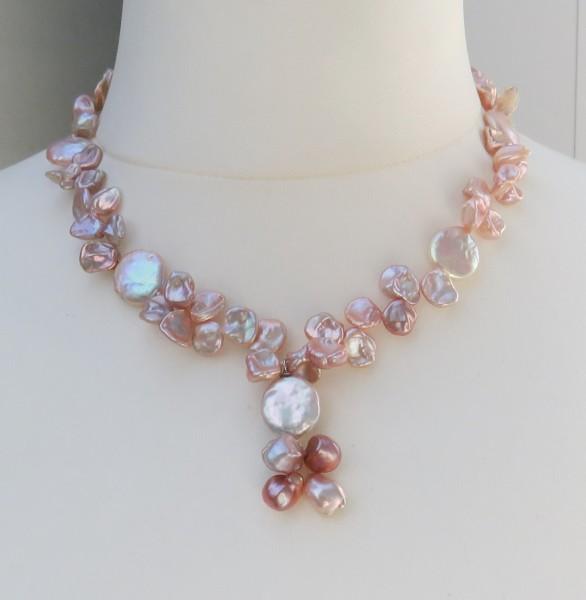 Süßwasser Keshiperlen Kette handgefertigt Keshi Perlen Unikat Collier 4428