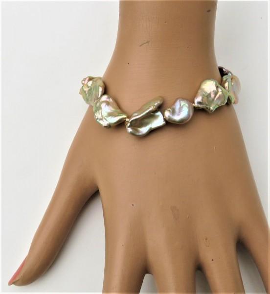 Keshi Perlen Armband Natur Süßwasserperlen Armband handgefertigtes Unikat 4855