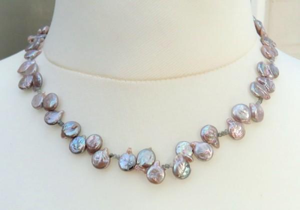 Süßwasserperlen Kette mit Rohdiamanten Perlen Kette 2,7 Karat Rohdiamanten 4214