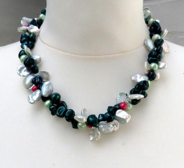 Süßwasserperlen Kette zweireihig Perlen Kette Perlen Collier Unikat 3853