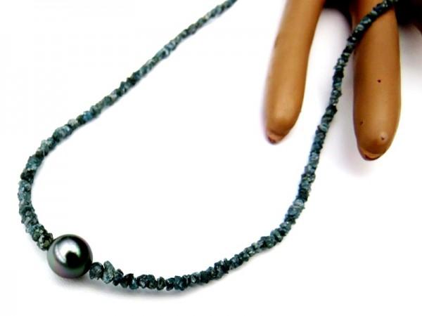 Diamant Kette mit Tahitiperle Unikat Diamantkette 23,25 Karat Rohdiamanten 4233