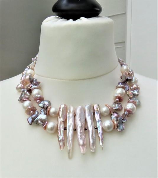 Perlen Kette Süßwasser Perlen Collier Perlen Unikat Collier handgefertigt 4802