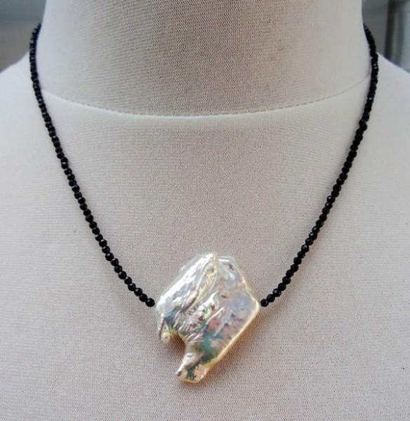 Süßwasserperle und schwarzer Spinell Unikat Kette Halskette Collier SALE 3560