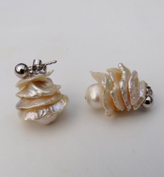 Keshi Perlen Ohrringe Unikat Perlen Ohrringe Süßwasserperlen Ohrstecker 4483