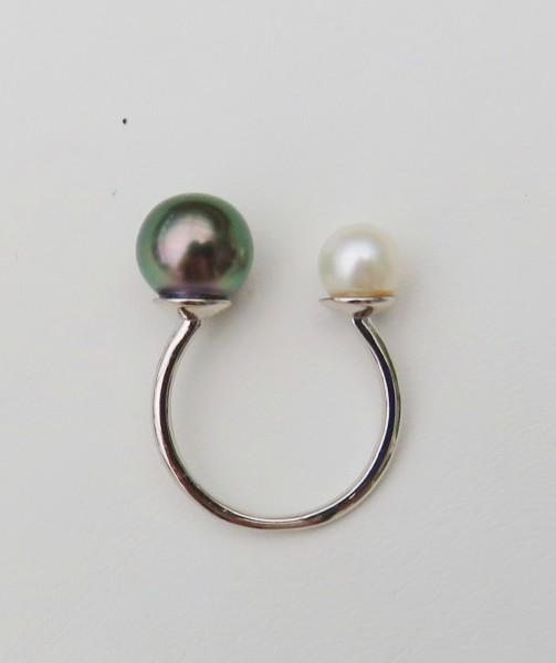 Tahiti Perlen Ring Perlen Ring Tahiti Perle und Süßwasser Perle Unikat Ring 4721