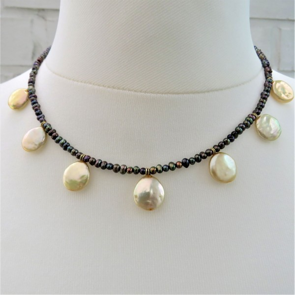 Perlen Kette Süßwasser Coin Perlen Kette Perlen handgefertigt trendy 4845