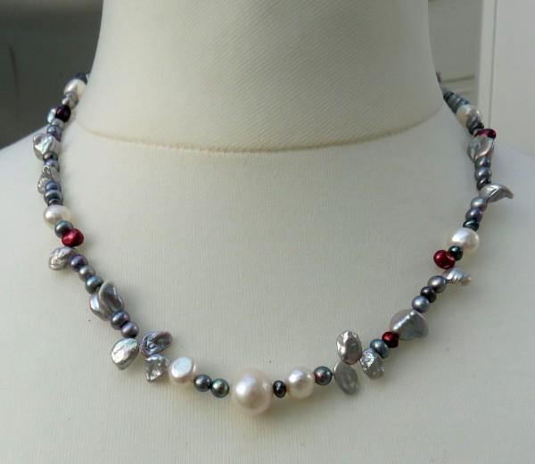 Süßwasserperlen Kette Perlen Kette Unikat Kette handgefertigt 4338