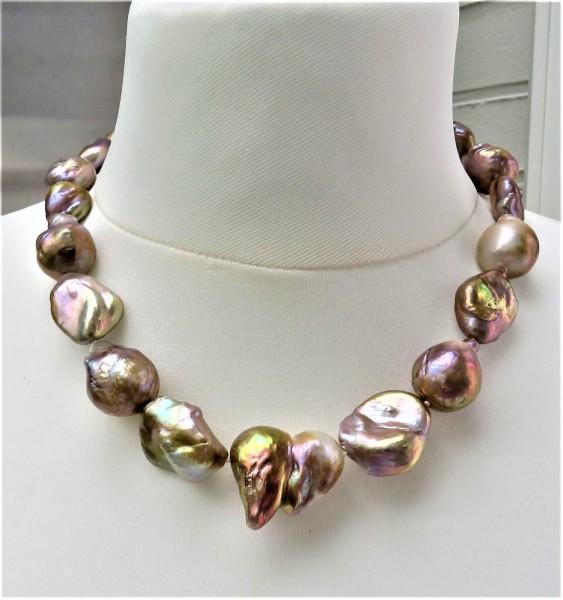 Ming Perlen Collier Süßwasser Perlen Kette naturfarben handgefertigt 4859