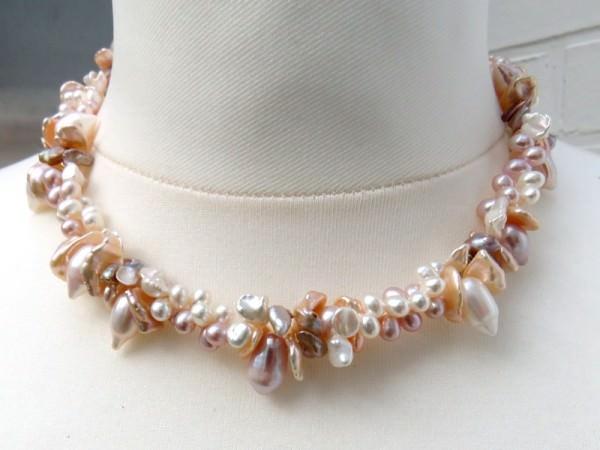 Süßwasserperlen Kette zweireihig Perlen Kette Halskette Unikat 3862