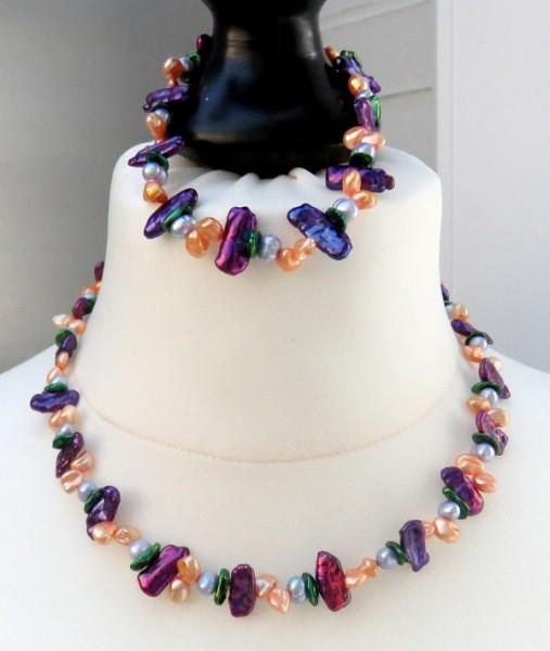 Keshi Perlen Kette und Armband Süßwasser Keshiperlen Set 4211