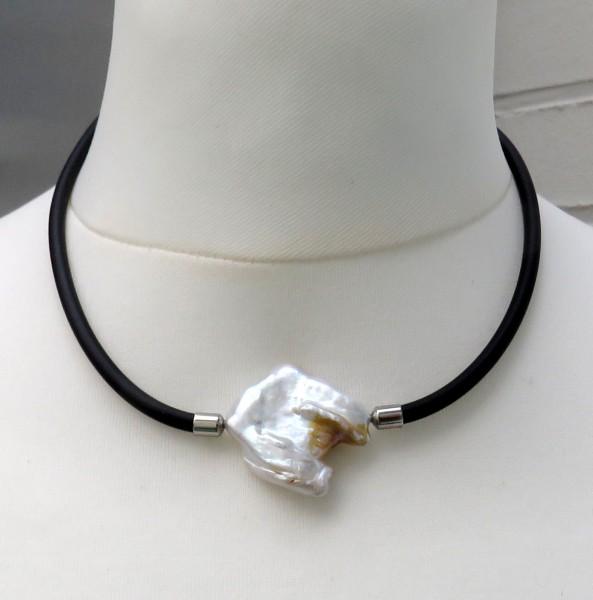Süßwasser Coin Perlen Kautschuk Ketten jede ein handgefertigtes Unikat D 4689