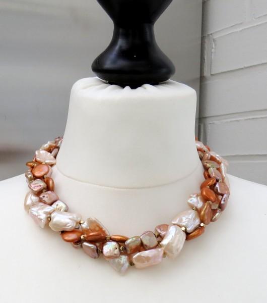 Perlen Collier Süßwasser Keshi und Coins Unikat Perlen Collier 3-reihig 4713