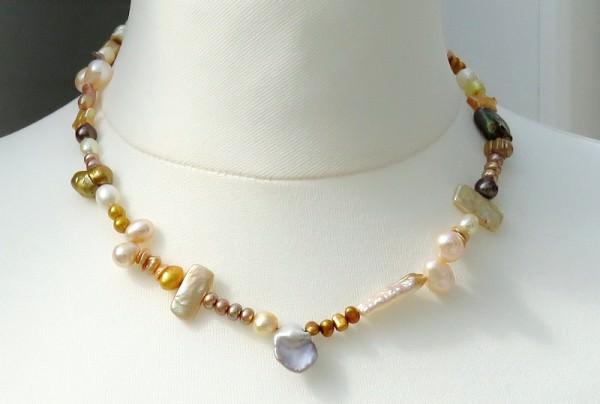 Süßwasser Perlenkette handgefertigtes Unikat in Gelbtönen Magnetschließe 4167