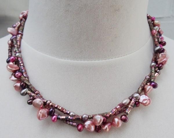 Süßwasser Perlenkette mit Keshis und Tropfenperlen Hämatit Edelsteinkette 3557