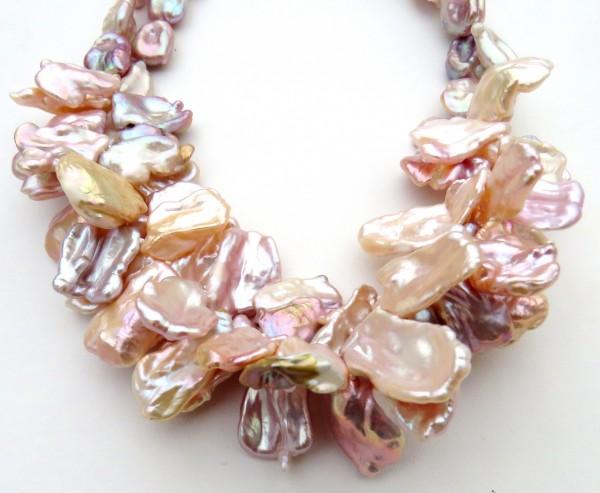 Keshi Perlen Collier Süßwasser Keshi Perlen Kette Unikat Perlen Collier 4760