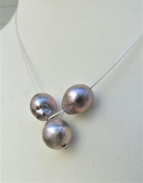 Ming Perlen Stahlseil Knopfloch Collier handgefertigt Unikat Perlen Collier 4838