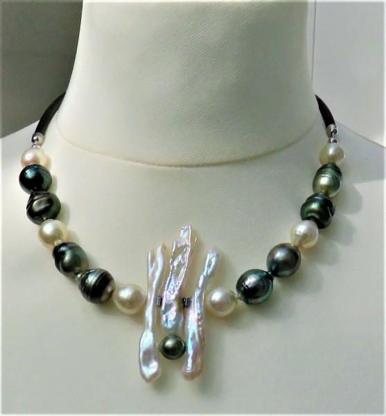 Tahiti Südsee Perlen Collier Südseeperlen Kette Tahitiperlen Kette Unikat 4831
