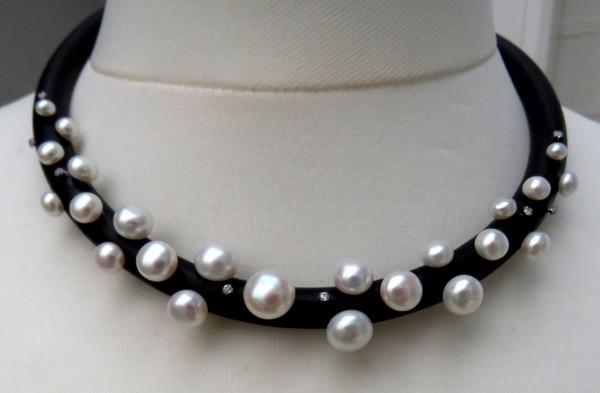 Süßwasser Perlen Kautschuk Collier Bouton Perlen AAAA Unikat handgefertigt 4507