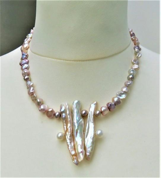 Perlen Kette Keshi Perlen Unikat Kette Drachenzahn und Keshi Perlen Collier 4803