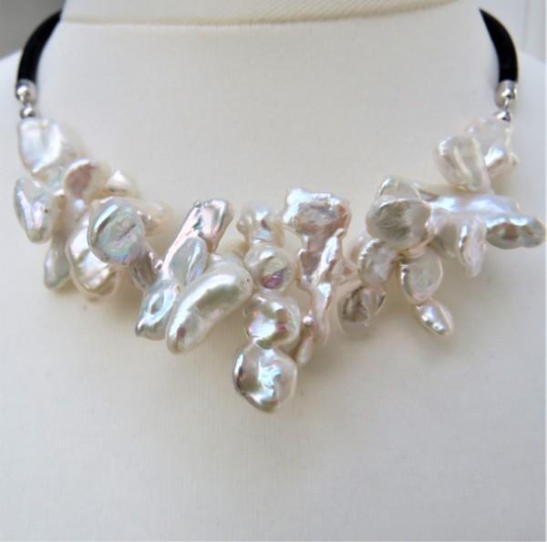 Perlen Kette Keshiperlen Unikat Collier Keshi Kautschuk Kette handgefertigt 4789