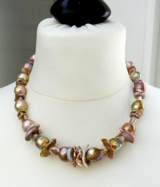 Süßwasser Perlen Kette Ming Keshi Perlen Unikat Kette Collier handgefertigt 4525
