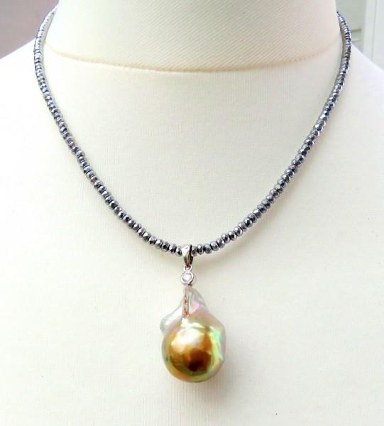 Süßwasser Perlen Anhänger Ming Perle Unikat handgefertigt an Hämatit Kette A4610