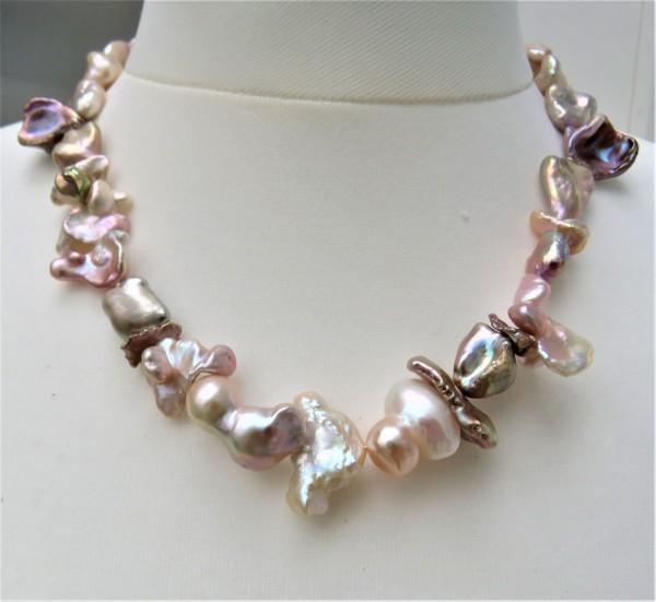 Keshi Perlen Biwa Perlen Kette Süßwasser Perlen Collier Unikat Perlen Kette 4876