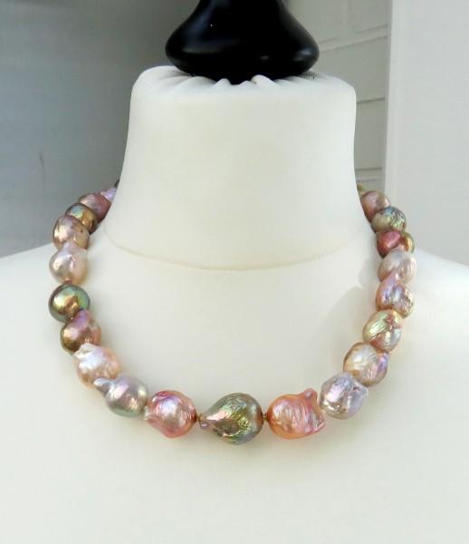 Ming Perlen Collier Süßwasserperlen Kette Wechselschließe Unikat 14-17,8 mm 4438