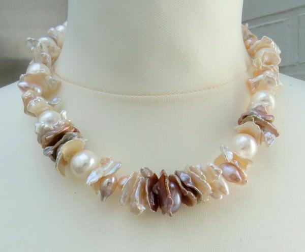 Süßwasserperlen Keshiperlen Kette Perlen Kette Einzelanfertigung 3886