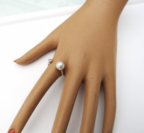 Perlen Ring Sterling Silber mit Süßwasser Perle oder Tahiti Perle D4267