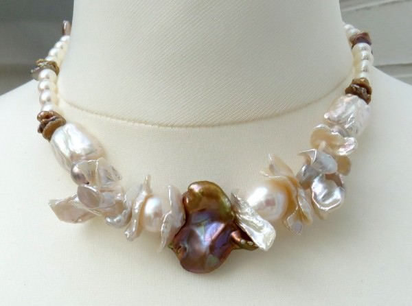 Keshi Perlen Collier Perlen Kette Süßwasserperlen Collier Designer Kette 4158