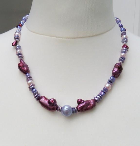 Süßwasser Perlen Unikat Kette Keshi Perlen Kette handgefertigt Silber rhod 4572