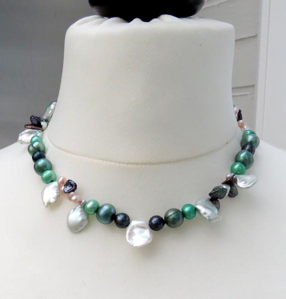 Perlen Kette Süßwasser Perlen Keshi Kette Unikat Perlen Kette Akoya Perlen 4493