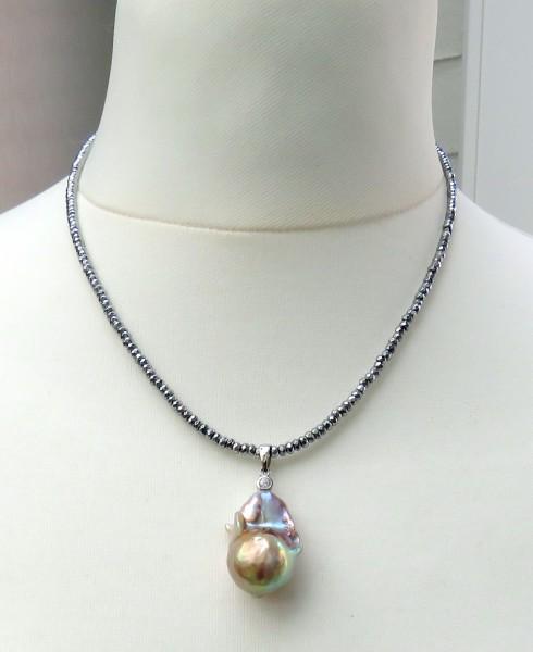 Süßwasser Perlen Anhänger Ming Perle Unikat handgefertigt an Hämatit Kette B4610