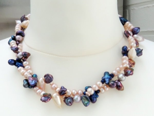 Süsswasserperlen Collier, Perlen Kette Halskette Keshi Perlen Kette 4107